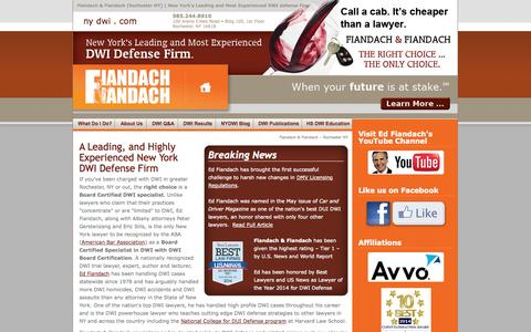 Screenshot of Home Page nydwi.com - Rochester DWI defense lawyer rochester ny - ed fiandach dwi defense attorney rochester - NY's DWI Defender Rochester - ny dwi.com - captured Oct. 5, 2014