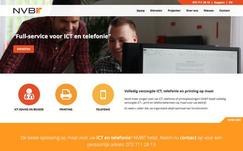 Screenshot of Home Page nvbit.nl - Volledig verzorgde ICT, telefonie en printing op maat - NVBIT - captured Dec. 1, 2016