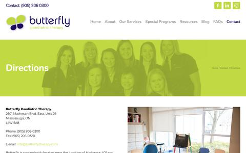 Screenshot of Maps & Directions Page butterflytherapy.com - Where is Butterfly Therapy Clinic? | Butterfly Paediatric Therapy - captured Oct. 7, 2018