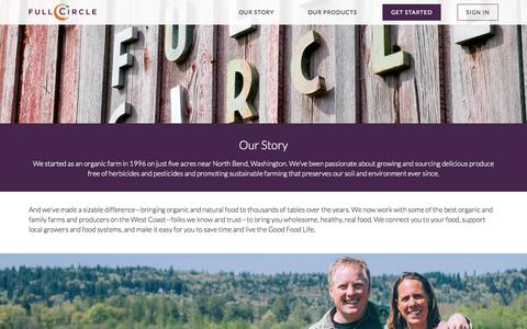 Screenshot of About Page fullcircle.com - Our Story - Full Circle Farm - captured Nov. 12, 2015