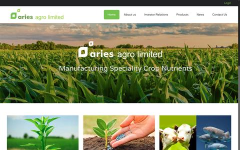 Screenshot of Home Page ariesagro.com - Aries Agro Limited – Manufacturer of micronutrients and nutritional products - captured Nov. 21, 2016