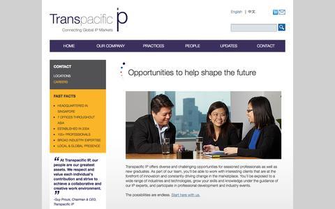 Screenshot of Jobs Page transpacificip.com - Transpacific IP - Contact Us - Careers - captured Oct. 7, 2014