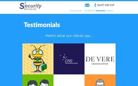 Screenshot of Testimonials Page s3securityservices.com - testimonials | S3Security services - captured Oct. 1, 2018