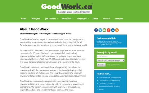 Screenshot of About Page goodwork.ca - GoodWork.ca: environmental jobs, conservation jobs, nature jobs - captured Nov. 11, 2016
