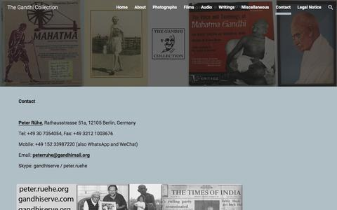 Screenshot of Contact Page google.com - The Gandhi Collection - Contact - captured Jan. 31, 2018