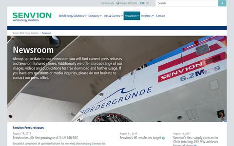 Screenshot of Press Page senvion.com - Newsroom      | senvion.com - captured Aug. 17, 2017