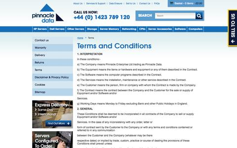 Screenshot of Terms Page pinnacledata.co.uk - Terms and Conditions   Datacentre Equipment   Pinnacle Data - captured Oct. 2, 2014