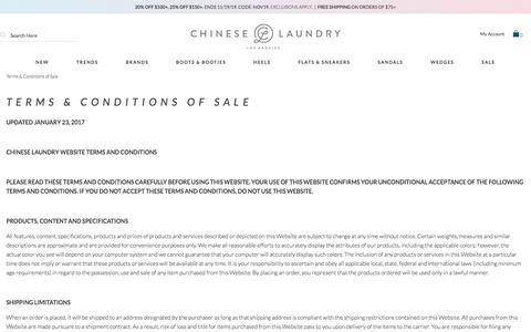Screenshot of Terms Page chineselaundry.com - Terms & Conditions of Sale | Chinese Laundry - captured Nov. 19, 2019