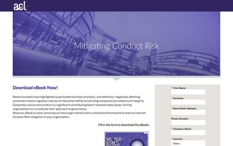 Screenshot of Landing Page acl.com - Download Conduct Risk eBook - captured June 17, 2016