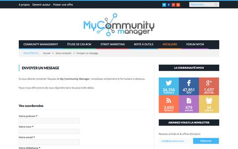 Screenshot of Contact Page mycommunitymanager.fr - Envoyer un message | My Community Manager - captured Sept. 23, 2014