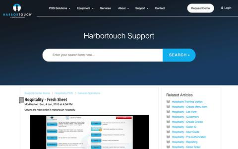 Screenshot of Support Page harbortouch.com - Hospitality - Fresh Sheet : Harbortouch Support Center - captured Oct. 9, 2018