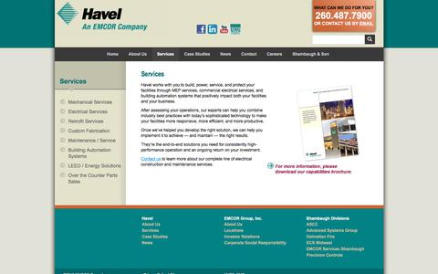 Screenshot of Services Page havelbros.com - Commercial Electrical Services | Havel - captured Feb. 25, 2018