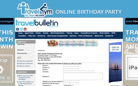 Screenshot of Contact Page travelbulletin.co.uk - Contact Us - captured Oct. 7, 2014
