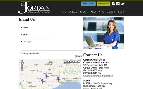 Screenshot of Contact Page Locations Page lkjordan.com - LK Jordan & Associates :: Recruiting and Staffing Firm - captured Oct. 22, 2014