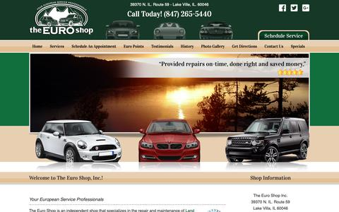 Screenshot of Home Page theeuroshopinc.com - European Car Service Chicago Milwaukee | The Euro Shop Inc. | 847-265-5440 - captured Nov. 18, 2018