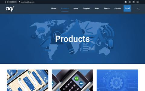 Screenshot of Products Page aql.com - Products | aql - captured Oct. 4, 2018
