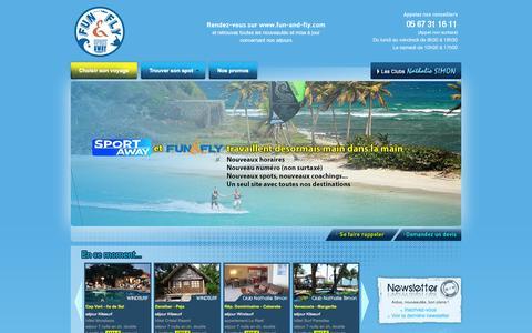 Screenshot of Home Page sport-away.com - Sport Away - Voyages Windsurf, Voyages Kitesurf - captured Oct. 16, 2015