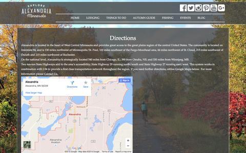 Screenshot of Maps & Directions Page explorealex.com - Directions - Alexandria MN Tourism - captured Nov. 20, 2016