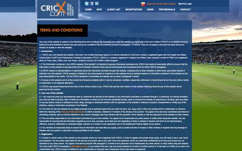Screenshot of Terms Page cricx.com - Terms and Conditions - captured Oct. 3, 2014