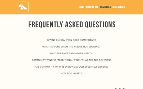 Screenshot of FAQ Page saskwind.ca - FAQ — Saskatchewan Community Wind - captured Oct. 4, 2014