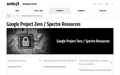 Screenshot of Developers Page amd.com - Google Project Zero / Spectre Resources - AMD - captured Aug. 7, 2018
