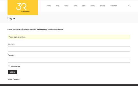 Screenshot of Login Page 3r.co.nz - Log In | 3R - captured Dec. 12, 2016