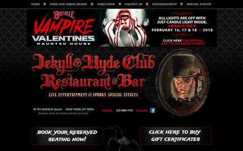 Screenshot of Home Page Contact Page Maps & Directions Page jekyllandhydeclub.com - The World Famous Jekyll & Hyde Club - New York's Only Haunted Restaurant and Bar - captured Feb. 25, 2018