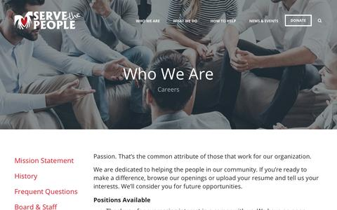 Screenshot of Jobs Page serve-the-people.com - Serve the People : Who We Are : Careers - captured Oct. 20, 2018