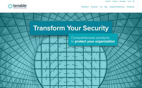Screenshot of Home Page tenable.com - Tenable Network Security - captured April 13, 2016
