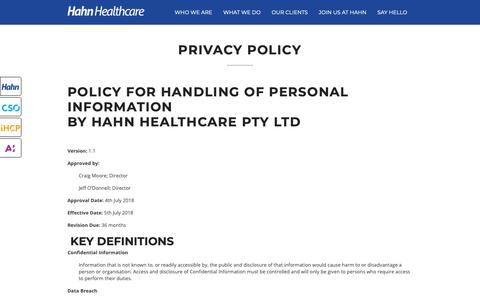 Screenshot of Privacy Page hahnhealthcare.com.au - Privacy Policy - Hahn Healthcare - captured Sept. 26, 2018