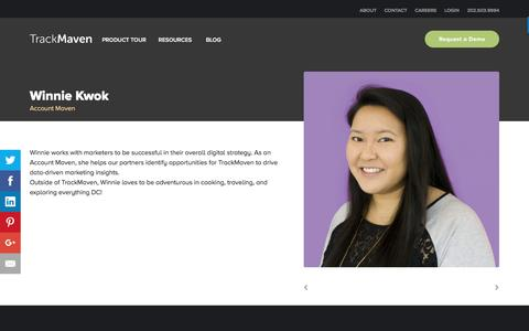 Screenshot of Team Page trackmaven.com - Winnie Kwok – TrackMaven - captured Oct. 12, 2016