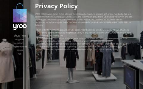 Screenshot of Privacy Page yroo.com - yroo: Privacy policy - captured Oct. 29, 2014