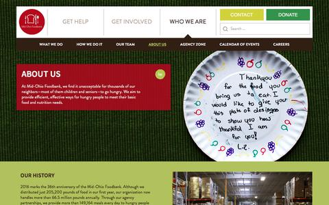 Screenshot of About Page midohiofoodbank.org - About Us | Mid-Ohio Foodbank | A hunger-free and healthier community - captured June 10, 2017