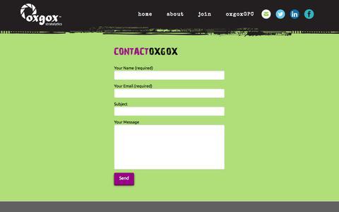 Screenshot of Contact Page oxgox.com - Contact | oxgox stratalytics - captured Oct. 26, 2014