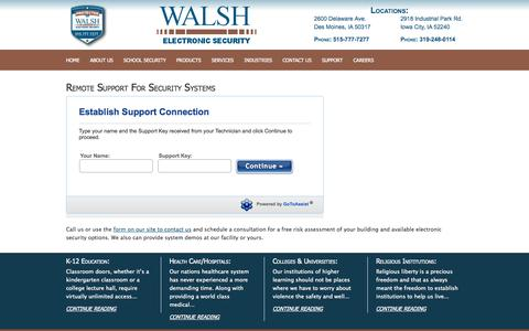 Screenshot of Support Page walshsecurity.com - Remote Support For Security Systems | Walsh Electronic Security - captured Oct. 27, 2014