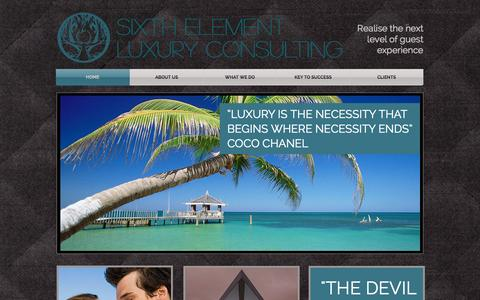 Screenshot of Home Page sixthelementluxuryconsulting.com - Sixth Element Luxury Consulting - captured Sept. 30, 2014