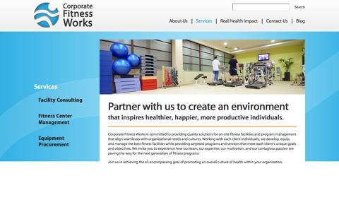 Screenshot of Services Page corporatefitnessworks.com - Services - Corporate Fitness Works | Fitness Center Management & Consulting | Health & Wellness Programs - captured Sept. 30, 2014