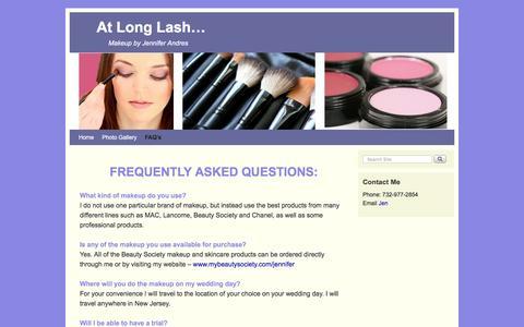 Screenshot of FAQ Page atlonglash.com - FAQ's   At Long Lash... - captured Dec. 27, 2015