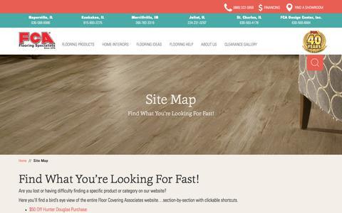 Screenshot of Site Map Page fcainc.com - Sitemap - Floor Covering Associates, Inc. - captured Oct. 14, 2017