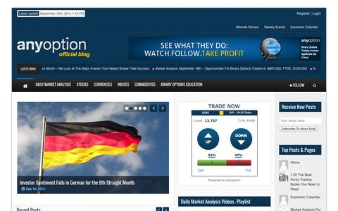 Screenshot of Blog anyoption.com - Binary Options Market Insights | anyoption™ Official Blog - captured Sept. 19, 2014