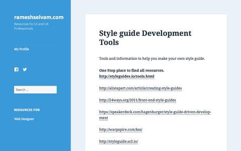Screenshot of Home Page rameshselvam.com - rameshselvam.com - Resources for UI and UX Professionals - captured Sept. 5, 2015