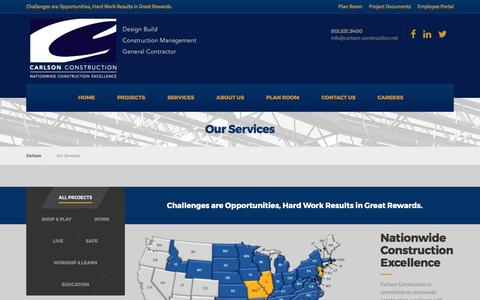 Screenshot of Services Page Maps & Directions Page carlson-construction.net - Carlson Construction - Our Services - captured May 14, 2017