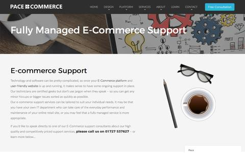 Screenshot of Support Page pacecommerce.co.uk - E-Commerce Support - captured Dec. 29, 2016