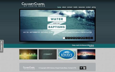 Screenshot of Home Page calvarychapelcostamesa.com - Calvary Chapel Costa Mesa | Home - captured Sept. 22, 2014