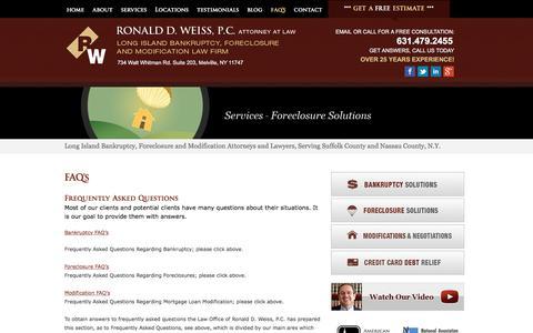 Screenshot of FAQ Page ny-bankruptcy.com - Long Island Bankruptcy, Modification & Foreclosure FAQ's   NY-BANKRUPTCY.COM   Ronald D. Weiss, PC - captured April 24, 2018