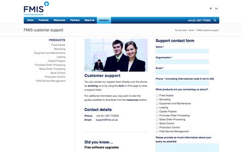 Screenshot of Support Page fmis.co.uk - Customer Support | FMIS software - captured Oct. 5, 2014