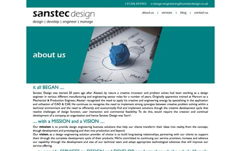 Screenshot of About Page sanstec.com - Mechanical and electronic design engineering - Sanstec Design - captured July 27, 2018