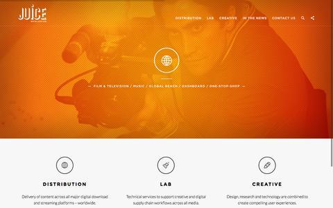 Screenshot of Home Page juiceworldwide.com - Juice Worldwide - captured Jan. 25, 2015