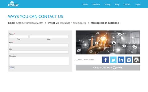 Screenshot of Contact Page swizly.com - Contact Us | SWIZLY 4.0 - captured July 26, 2018