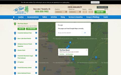 Screenshot of Maps & Directions Page basslake.com - Conveniently-located Yosemite Park Hotel - The Pines Resort - captured Oct. 9, 2018